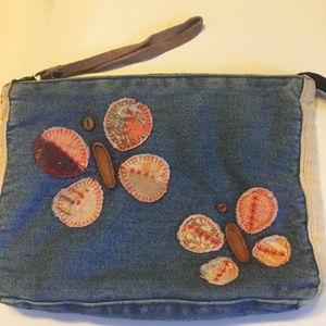 Lucky Brand Wristlet Cosmetic Bag Denim Applique